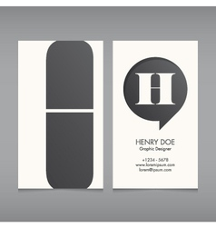 Business card template letter H vector image