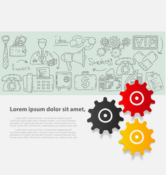 business set template with hand drawn vector image