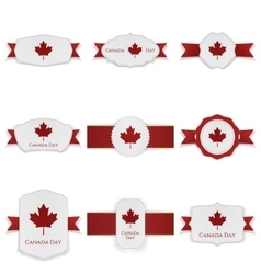Canada Day festive Labels Set with Text vector image