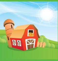 cartoon farm barn vector image