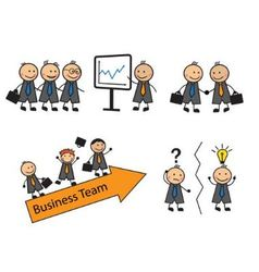 Cartoon set of business situations with people vector