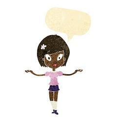 Cartoon woman making balancing gesture with speech vector