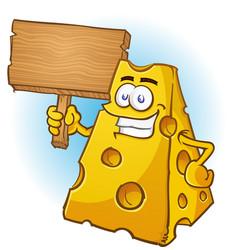cheese cartoon character sign vector image
