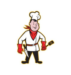Chef cook standing holding spatula vector