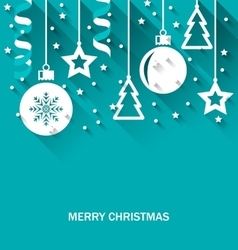 Christmas Card with Fir Balls Stars Streamer vector