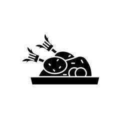 christmas turkey black icon sign on vector image