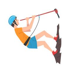 Climber in protective helmet climbing mountain vector