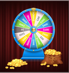 Colorful wheel fortune gambling and casino vector