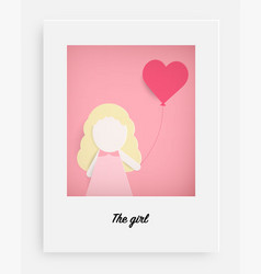 cute girl hold pink balloon and pink background vector image