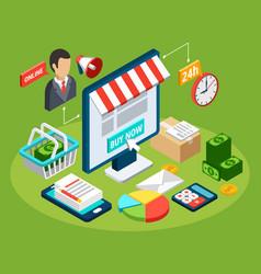 digital marketing isometric concept vector image