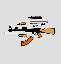 Disassembly soviet assault rifle vector