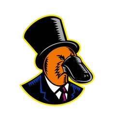 duck-billed platypus tophat woodcut color vector image