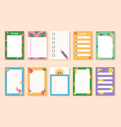 empty blank planner to do list notes vector image