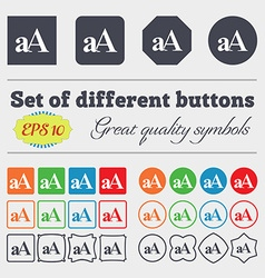 Enlarge font aA icon sign Big set of colorful vector image