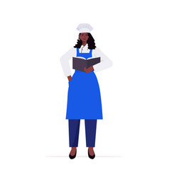 Female cook in uniform african american woman chef vector