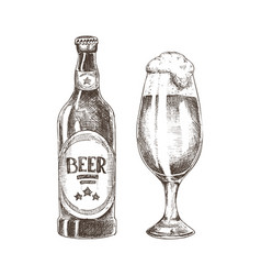 Foamy beer in glassy goblet and closed ale bottle vector