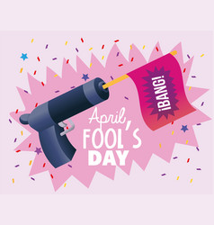 Funny gun with flag to fools day vector