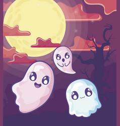 Funny halloween ghosts on halloween scene vector