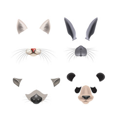Funny video chat effects with animal faces set vector