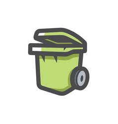 garbage bin trash can icon cartoon vector image