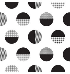 Geometric black and white dotted circles vector