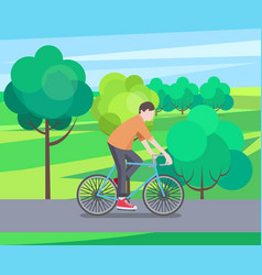 green park and biking man vector image