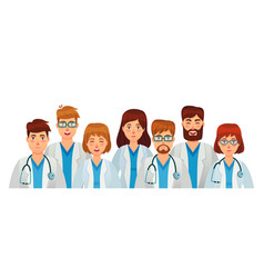 group doctors professional medical staff team vector image