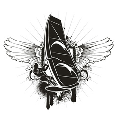 Grunge summer emblem vector