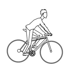 Guy rider bike transport outline vector
