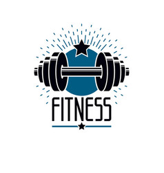 gym and fitness logo template retro style emblem vector image