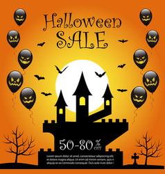 Halloween sale offer design template vector