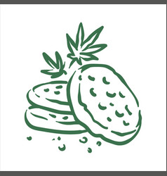 Hand drawn cannabis cookies on vector