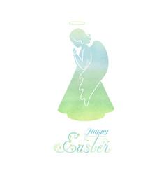 happy easter watercolor card vector image