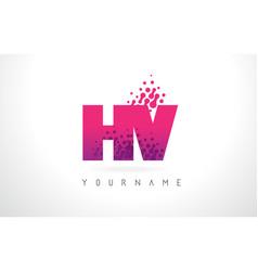 hv h v letter logo with pink purple color vector image