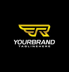 Initial wing letter r luxury logo design vector