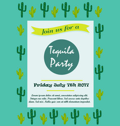 Invitation template with cacti for tequila party vector