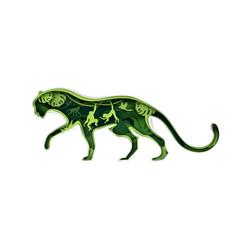 jaguar silhouette with rainforest nature jungle vector image