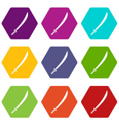 Katana icon set color hexahedron vector