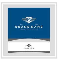 Letter m shield wing logo design concept vector