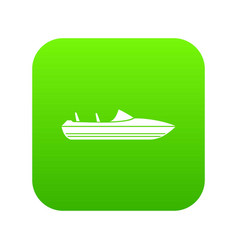 little powerboat icon digital green vector image