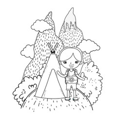 Little tourist girl with teepee vector