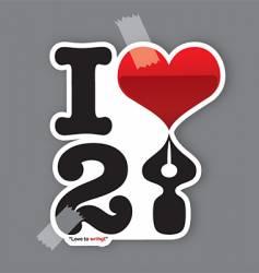 Love to write sticker vector