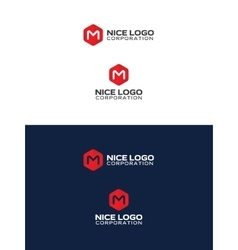 m hexagon logo vector image