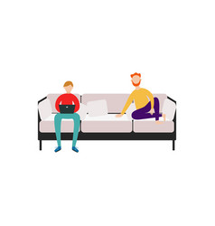 men friends or roommates sitting on couch flat vector image