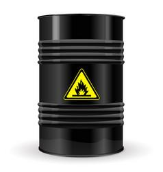 Metal barrel sign flammable vector