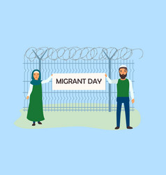 Migrant day concept banner flat style vector