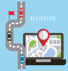 Mobile navigation laptop screen with gps map on vector