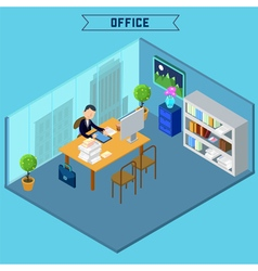 Modern Office Interior Isometric Building vector image