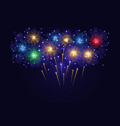Multicolored sparkling fireworks vector