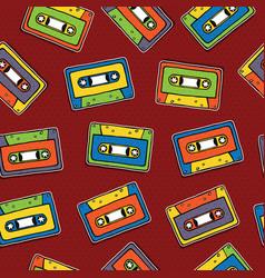 music cassette seamless pattern cartoon background vector image
